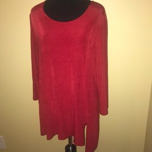 Chico's Lady's Red Pull Over Travelers Blouse Lg